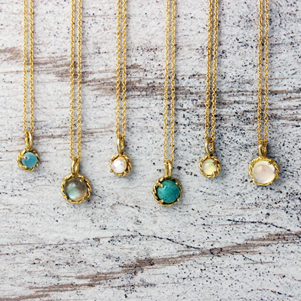 Moon + Stars Gemstone Necklace