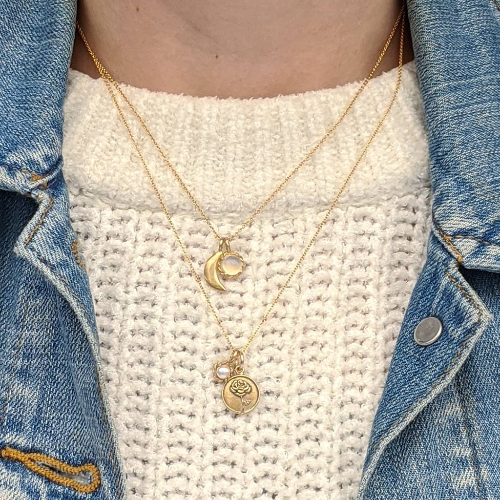Rose Coin Pearl Necklace