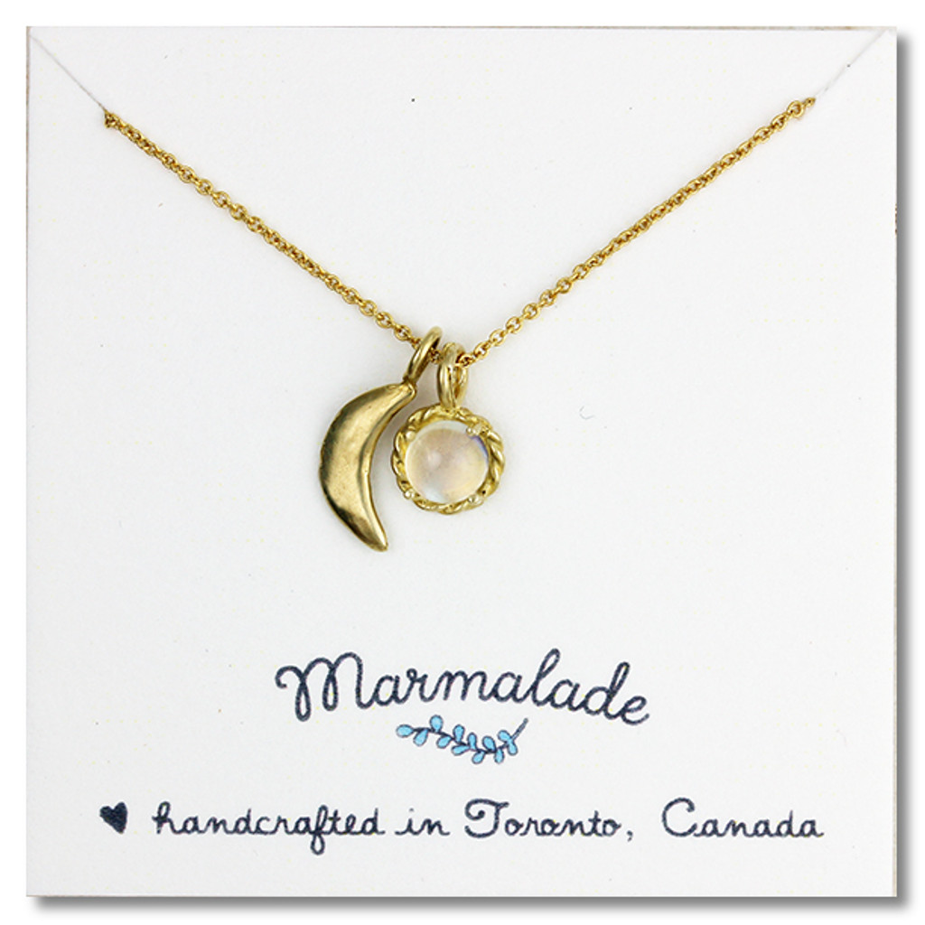 Sculpted Moon Gemstone Necklace