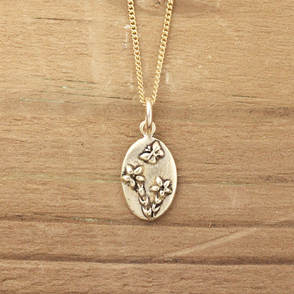 Bronze Forget-Me-Not Necklace