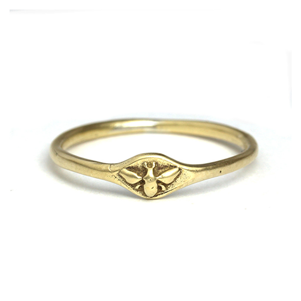 Small Bee Signet Ring
