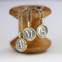 Tiny Silver and Bronze Letter Charm