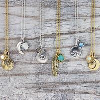 Large Feather Gemstone Necklace