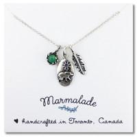 Bear Charm Gemstone Necklace