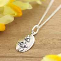 Silver Echinacea + Bee Necklace