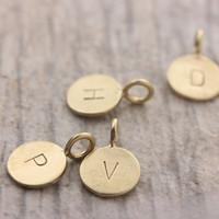 Tiny Bronze Letter Pendants