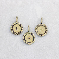 Bronze Twist Letter Pendants