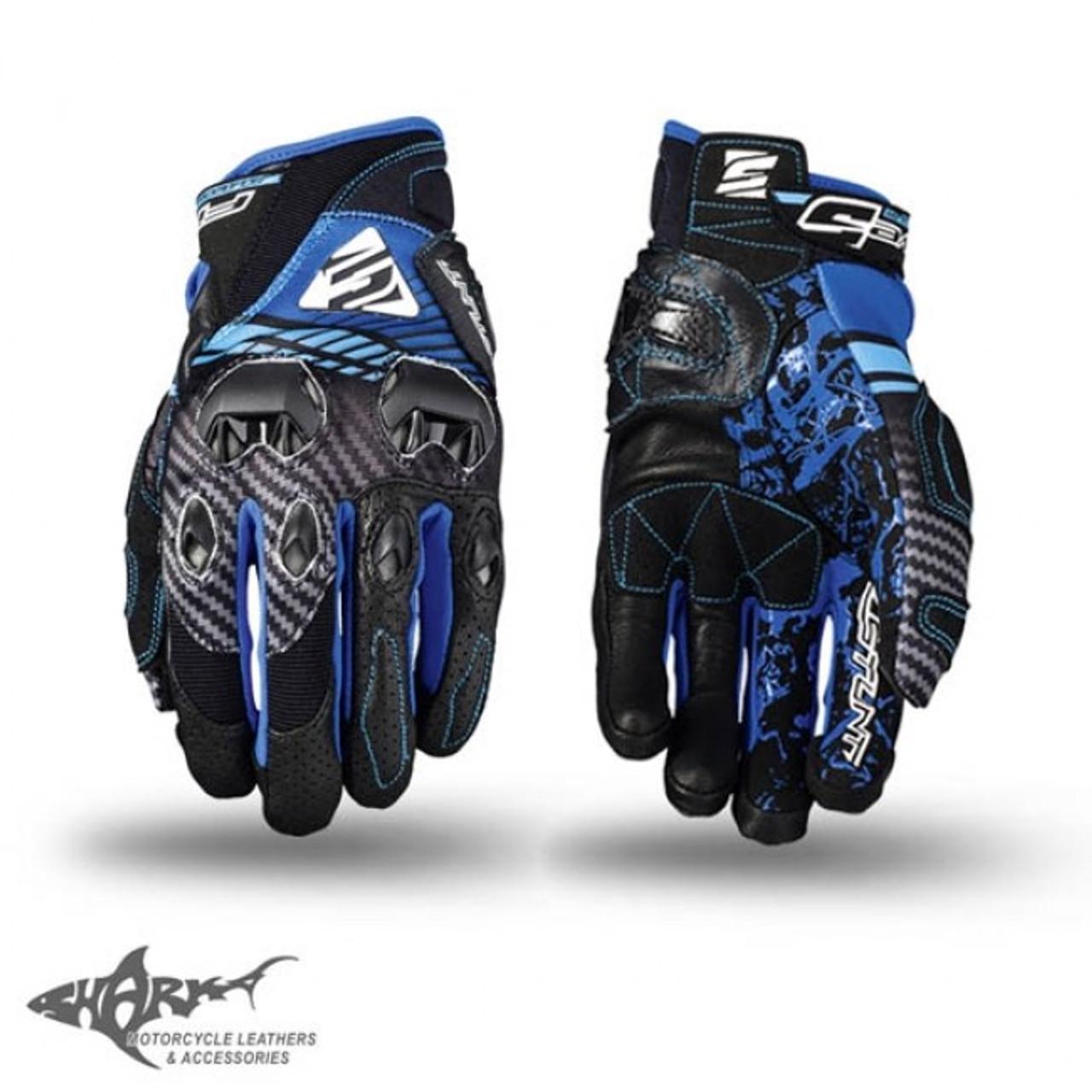 Five Stunt EVO Airflow Road Street Bike Black Leather Vented Motorcycle Gloves