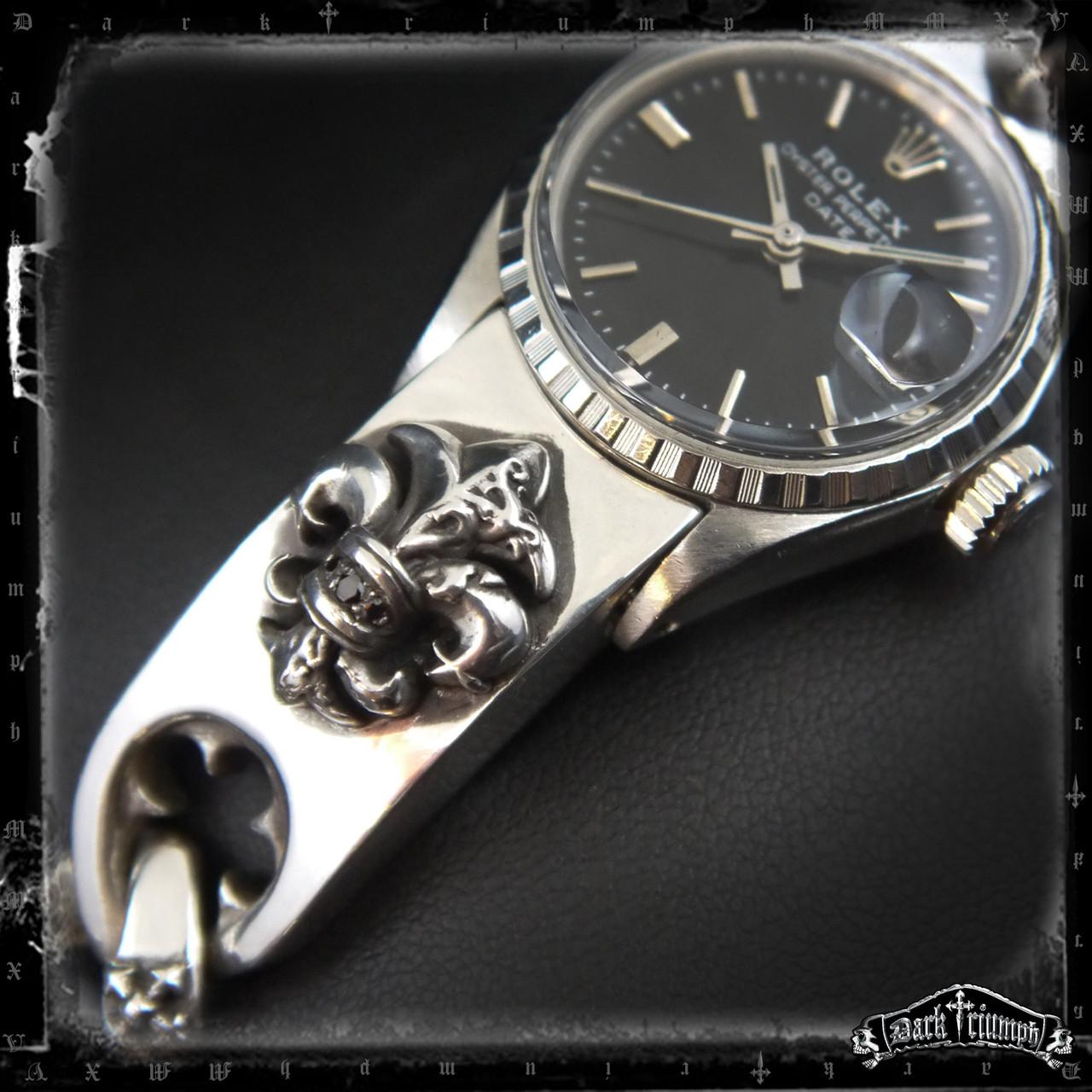 Women\u2019s Rolex Watch , Black Diamond Fleur De Lis Bracelet in Sterling  Silver