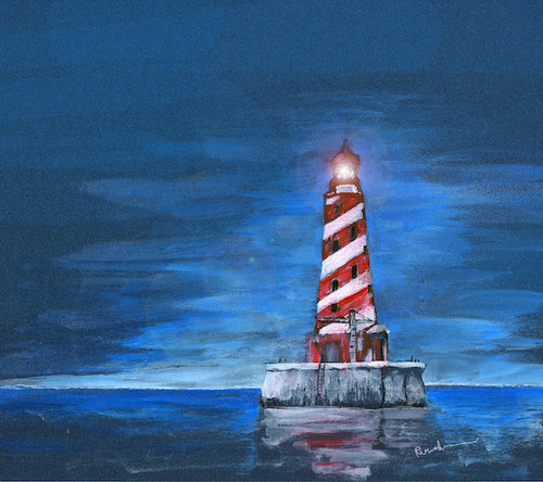 White Shoal Lighthouse Art Print