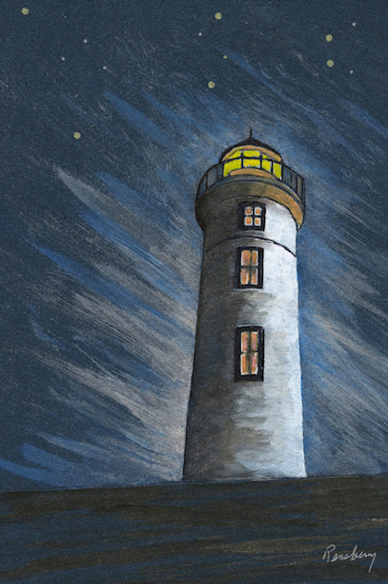 Starry Night Lighthouse Art Print