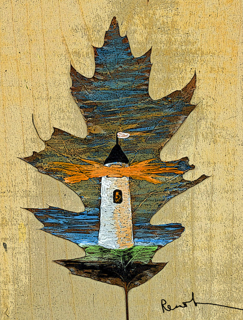 Oak Leaf Lighthouse Card