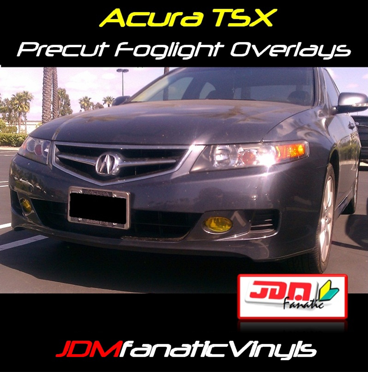 07-08 Acura TSX Precut Yellow Fog Light Overlays Tint on
