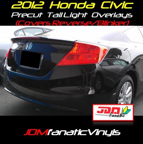 2012 Honda Civic Precut Smoked Blinker/Reverse Tail Light Overlays Tint
