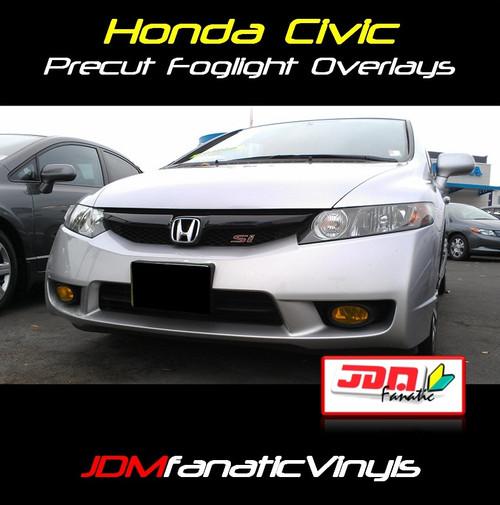 09-11 Honda Civic Precut Yellow Fog Light Overlays Tint Kit
