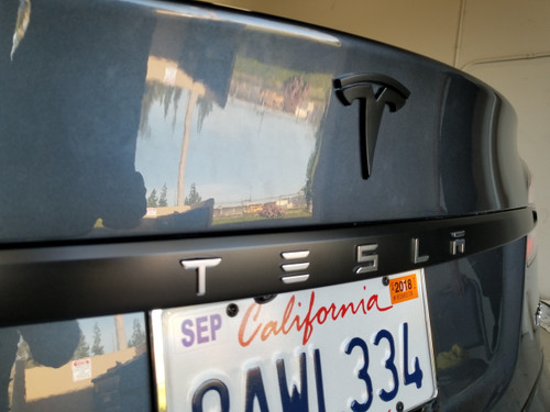 Tesla Trunk Trim Chrome Delete w/ Letters Cutout (Model S)