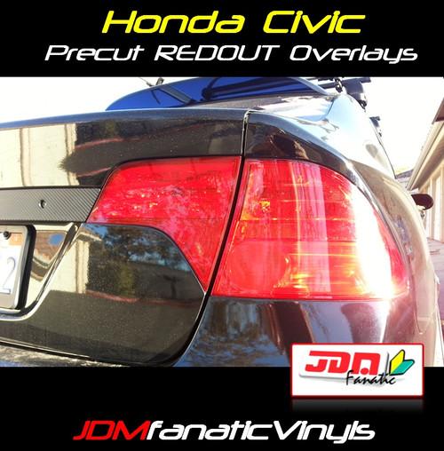 06-11 Honda Civic Sedan Precut REDOUT Blinker/Reverse Tail Light Overlays Tint
