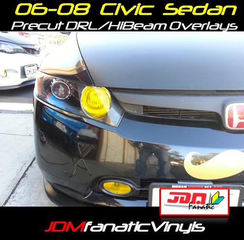 06-08 Honda Civic Sedan Precut Yellow High beam Head Light Overlays Tint