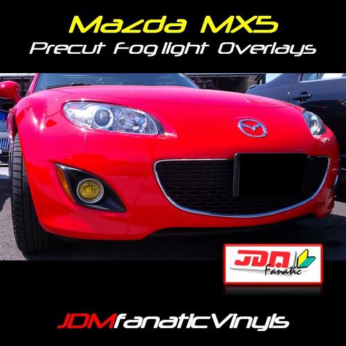 06-08 Mazda Miata MX5 Precut Yellow Fog Light Overlays Tint Covers Kit