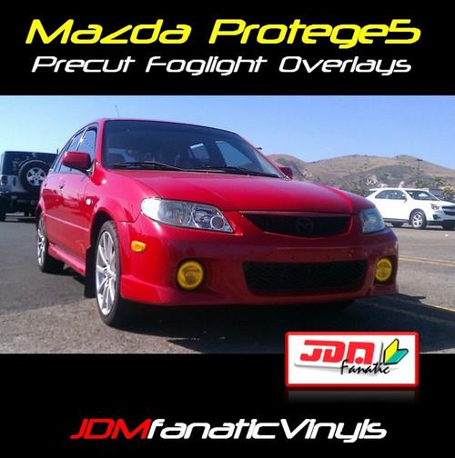 02-03 Mazda Protege 5 Precut Yellow Fog Light Overlays Tint Covers Kit