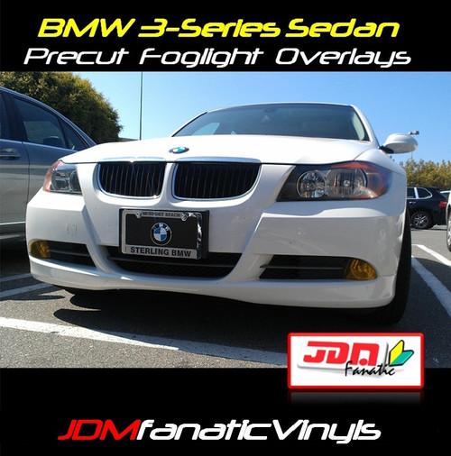 06-08 BMW 3-Series SEDAN Precut Yellow Fog Light Overlays Tint