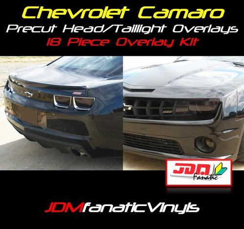10-13 Chevrolet Camaro 18pcs Precut Smoked Tail Light, Fog Light, Markers, Reverse, Blinker Overlays Tint