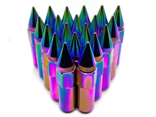 NEO CHROME Rainbow Aluminum  Tuner Lug Nuts - Extended Spikes