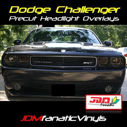 08-12 Dodge Challenger Precut Smoked Head Light & Fog Light Overlays Tint
