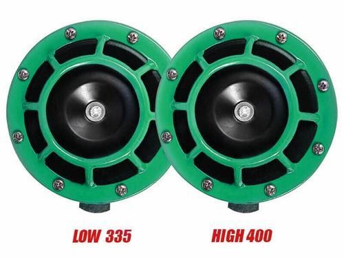 Super Tone Loud Blast Grille Mount Horns 12V 335-400 - Green