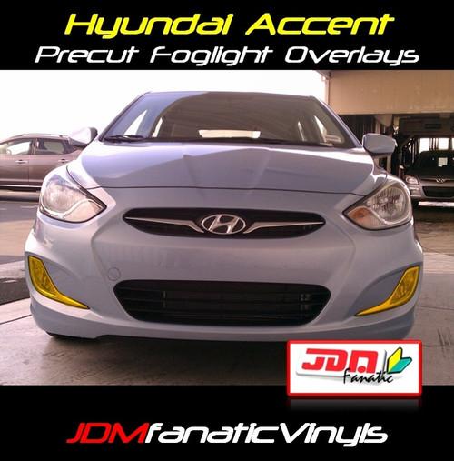 11-13 Hyundai Accent SEDAN Precut Yellow Fog Light Overlays Tint