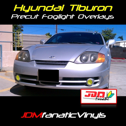 03-04 Hyundai Tiburon COUPE Precut Yellow Fog Light Overlays Tint