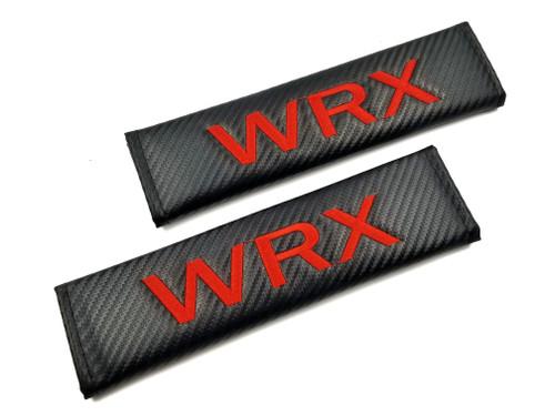 WRX Carbon Fiber Seat Belt Shoulder Pads Cover - Red