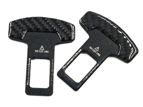 2pcs - Car Seat Belt Buckle Alarm Stopper Clip - Real Carbon Fiber
