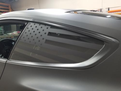 American Flag Quarter Window Decal (18-20 Mustang)