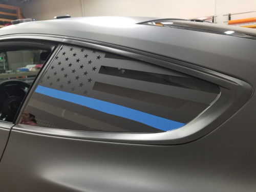 Thin Blue Line Quarter Window Decal (18-20 Mustang)