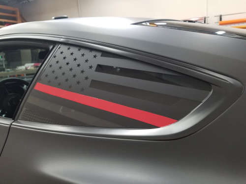 Thin Red Line Quarter Window Decal (18-20 Mustang)
