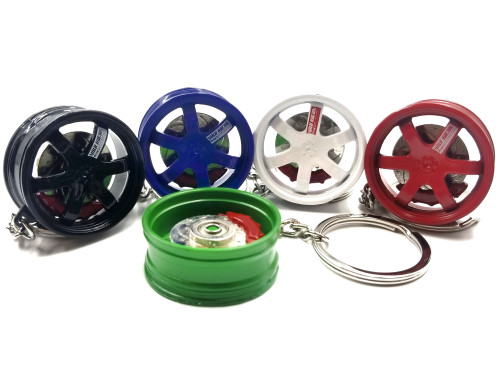 Wheel TE37 Keychain with Spinning Rotor