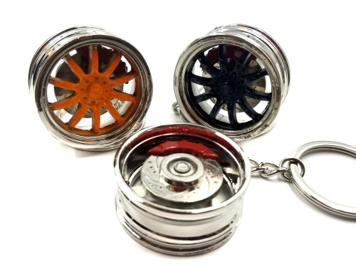 V2 Wheel with Spinning Rotor Keychain