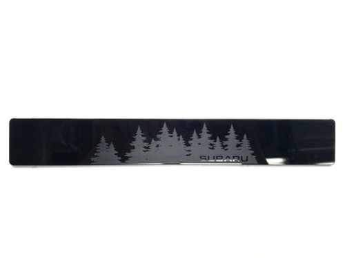 Forest with Subie lettering vanity plate - Gloss Black Acrylic