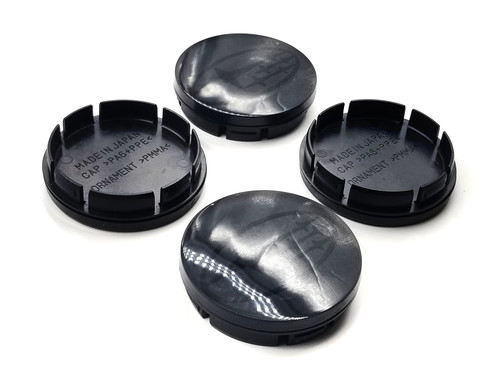 Replacement Gloss Black Center Caps with 3d Logo - Black Stars Logo (56mm)