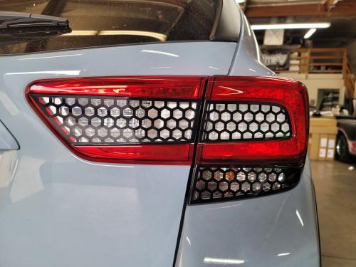 HoneyComb Black Tail Light, Reverse & Turn Signal Overlays Tint (2018-2021 Crosstrek XV / Impreza Hatchback)