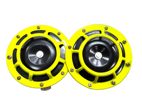 Neon Yellow Super Tone Loud Blast Grille Mount Horns 12V 335-400
