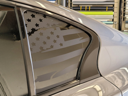 Distressed American Flag Quarter Window Decal (Infiniti Q50)