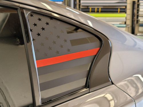 Thin Red Line Flag Quarter Window Decal (Infiniti Q50)