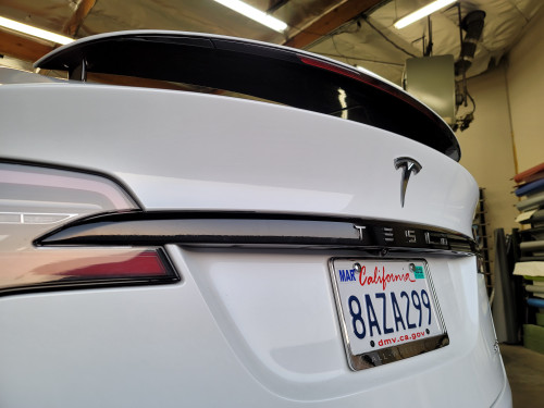 Tesla Trunk Trim Chrome Delete w/ Letters Cutout (Model X)