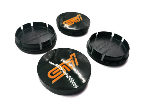 Replacement Gloss Black Center Caps with 3d Logo - ORANGE LOGO (56mm)