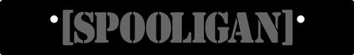 Vanity Plate Delete [SPOOLIGAN] Logo Engraved -  Gloss Black Acrylic