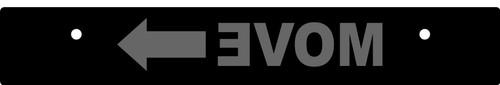 Vanity Plate Delete MOVE ➨ Logo Engraved -  Gloss Black Acrylic