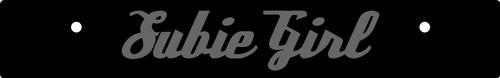 Vanity Plate Delete SUBIE GIRL Logo Engraved -  Gloss Black Acrylic