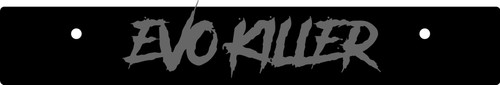 Vanity Plate Delete EVO KILLER Logo Engraved -  Gloss Black Acrylic